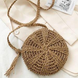 Tassel Decor Straw Bag Brown